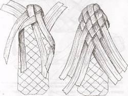 Плетение бахилы: бока и носок